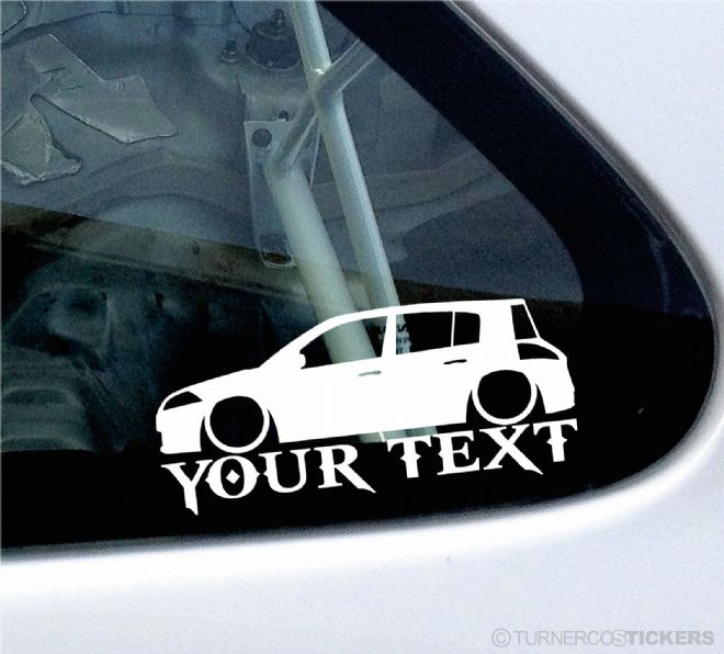 2x Custom YOUR TEXT Lowered car stickers - Renault Megane Sport RS (Mk2) 5-Door